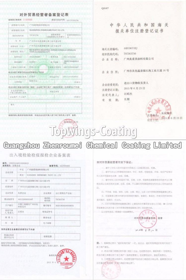 汽车漆出口贸易证书