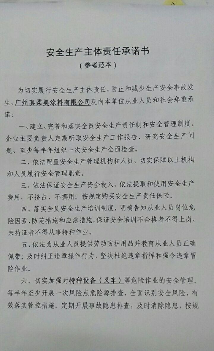 安全生产主体责任承诺书(一)